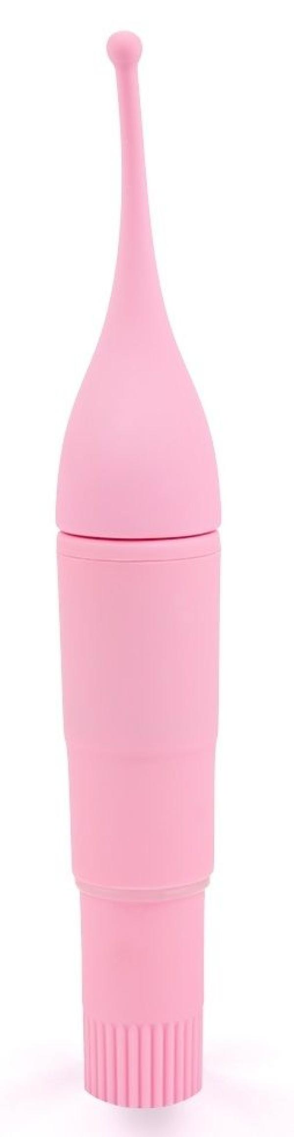 Нежно-розовый мини-вибратор для стимуляции клитора - 16 см.