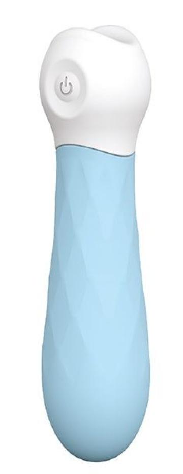Голубой силиконовый мини-вибромассажер DIAMOND BABY BOO - 12 см.