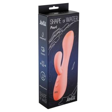 Розовый вибратор Shape of water Pearl с клиторальным отростком - 18,5 см.