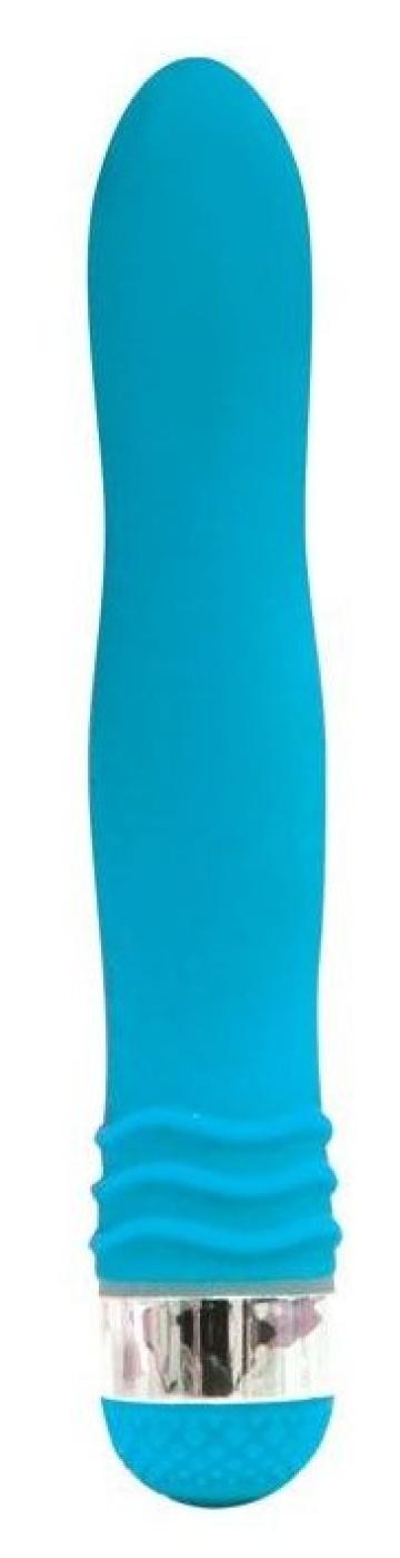 Голубой эргономичный вибратор Sexy Friend - 17,5 см.