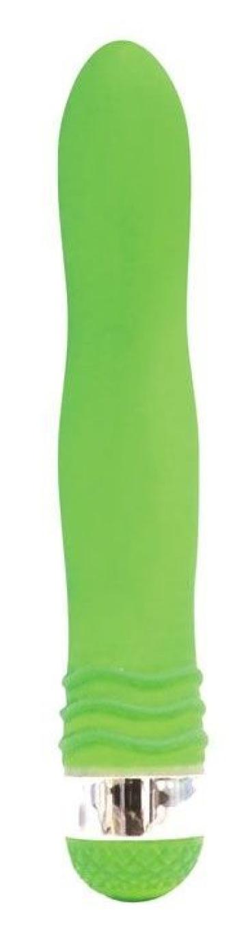 Салатовый эргономичный вибратор Sexy Friend - 17,5 см.