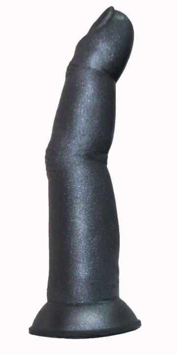 Черный анальный стимулятор в виде пальца на присоске - 15 см.