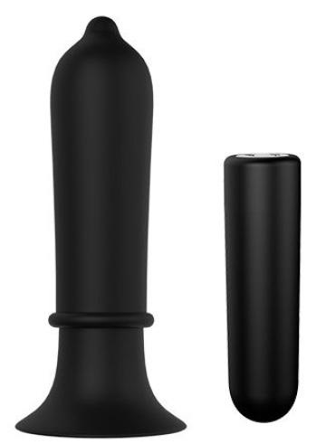 Черный вибромассажер для анальной стимуляции TORPEDO PLUG - 11,2 см.