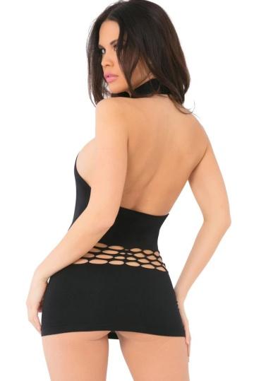 Бесшовное платье длины мини с перфорацией на животике