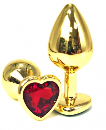 Золотистая анальная пробка с красным кристаллом-сердцем - 6,5 см.