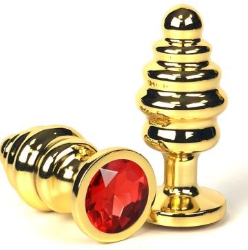 Золотистая ребристая анальная пробка с красным кристаллом - 7 см.