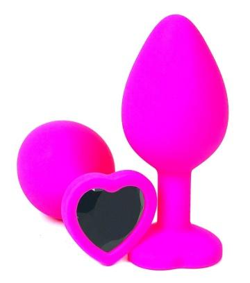 Розовая силиконовая пробка с черным кристаллом-сердцем - 10,5 см.