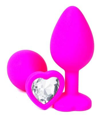Розовая силиконовая пробка с прозрачным кристаллом-сердцем - 8,5 см.