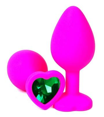 Розовая силиконовая пробка с зеленым кристаллом-сердцем - 8,5 см.