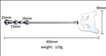 Серебристый металлический стек с кошечкой - 40 см.