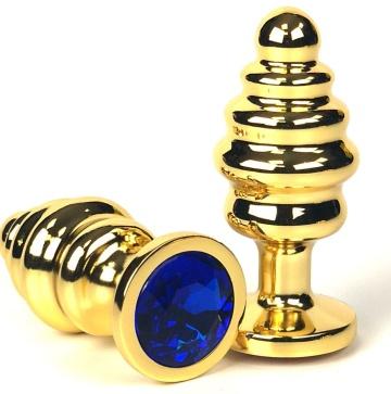 Золотистая ребристая анальная пробка с синим кристаллом - 8,5 см.