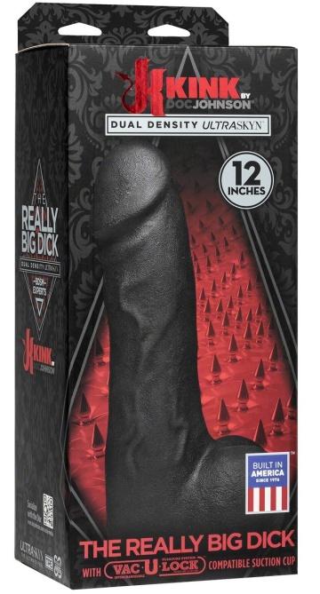 Черный фаллоимитатор-гигант с присоской-плагом The Really Big Dick - 30,5 см.