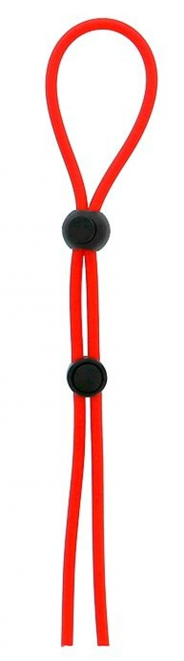 Красное лассо на пенис с двумя бусинами STRETCHY LASSO CAGE