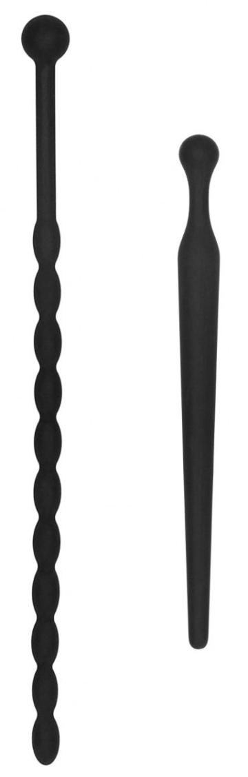 Набор из двух черных уретральных стимуляторов Beginners Silicone Plug Set