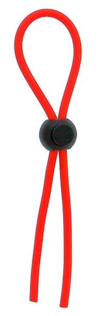 Красное эрекционное лассо с одной бусиной-утяжкой STRETCHY THIN LASSO