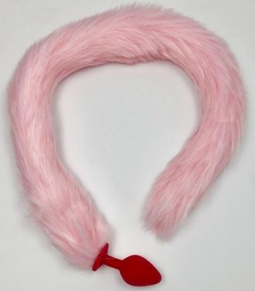 Красная силиконовая анальная пробка с розовым хвостиком - размер S