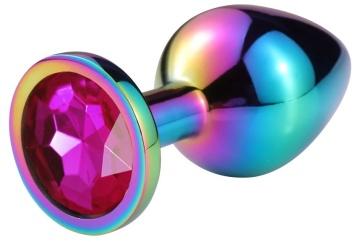 Разноцветная гладкая анальная пробка с розовым кристаллом - 6,8 см.