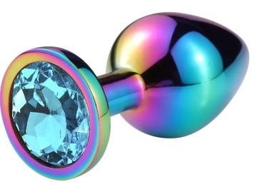 Разноцветная гладкая анальная пробка с голубым кристаллом - 6,8 см.