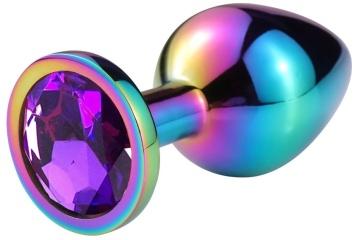 Разноцветная гладкая анальная пробка с фиолетовым кристаллом - 7,5 см.