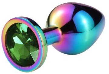 Разноцветная гладкая анальная пробка с зеленым кристаллом - 6,8 см.