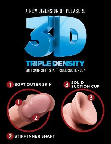 "Телесный фаллоимитатор на присоске 8"" Triple Density Fat Cock with Balls  - 24,1 см."