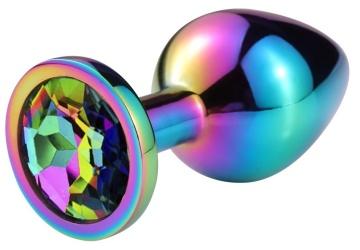 Разноцветная гладкая анальная пробка с радужным кристаллом - 7 см.