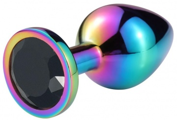 Разноцветная гладкая анальная пробка с черным кристаллом - 9,5 см.
