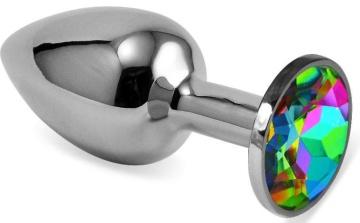 Серебристая гладкая анальная пробка с радужным кристаллом - 7,5 см.