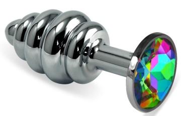 Серебристая ребристая анальная пробка с разноцветным кристаллом - 6 см.