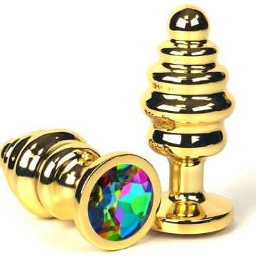 Золотистая ребристая анальная пробка с разноцветным кристаллом - 7 см.