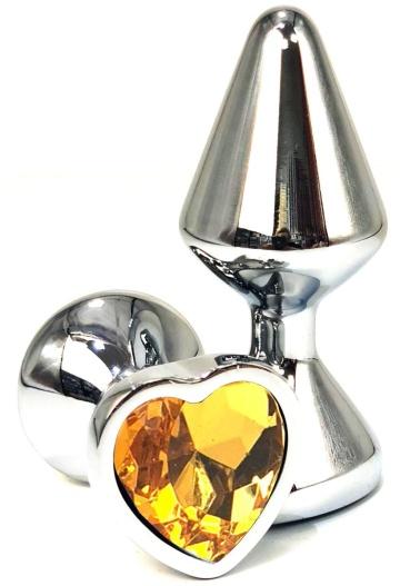 Серебристая анальная пробка с оранжевым кристаллом-сердцем - 8 см.