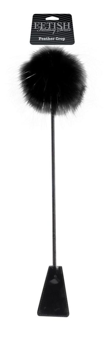 Черный стек Feather Crop с пуховкой на конце - 53,3 см.