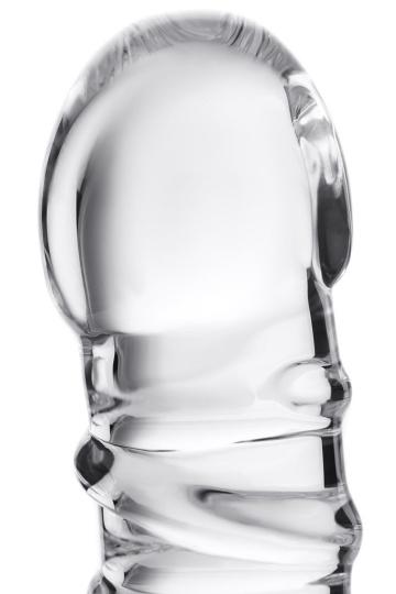 Фаллос со спиралевидным рельефом из прозрачного стекла - 16 см.