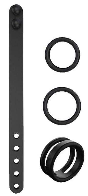 Набор из 3 черных эрекционных колец и ремня MAN CAGE KIT