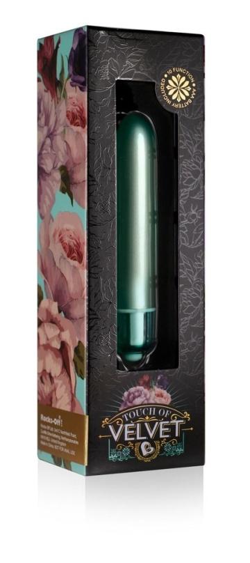 Зеленый мини-вибратор Touch of Velvet - 10,3 см.