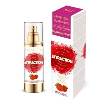 Массажное разогревающее масло с феромонами и ароматом клубники - 30 мл.