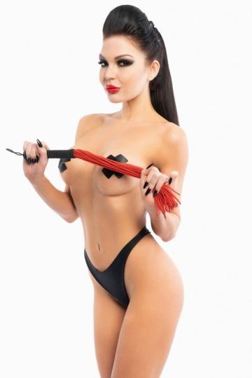 Красная плеть-флогер с черной ручкой