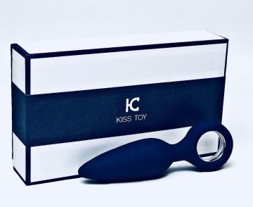 Синяя вибропробка с кольцом Kiss Toy - 12 см.