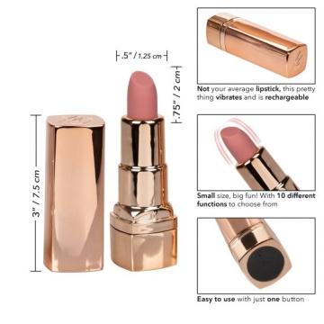 Золотистый вибратор-помада с бежевым мягким кончиком Hide & Play Rechargeable Lipstick