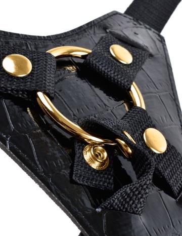 Чёрный с золотом женский страпон Designer Strap-On