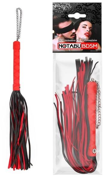 Красно-черная многохвостая плеть-флоггер - 40 см.