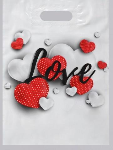 """Полиэтиленовый пакет """"Love"""" - 31 х 40 см."""
