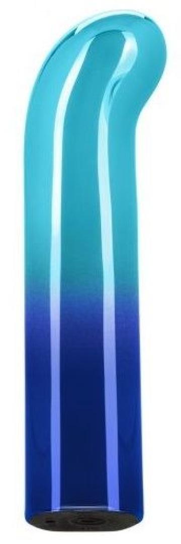 Голубой изогнутый мини-вибромассажер Glam G Vibe - 12 см.