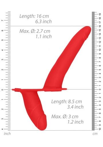 Красный двойной вибрострапон Double Vibrating Silicone Strap-On Adjustable - 15,5 см.
