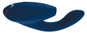 Синий стимулятор Womanizer DUO с вагинальным отростком