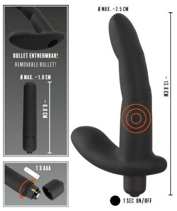 Черный вибромассажер простаты Naughty Finger Prostate Vibe - 13,8 см.