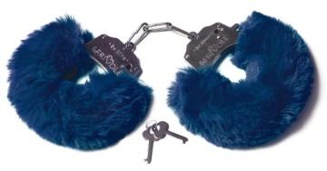 Шикарные темно-синие меховые наручники с ключиками
