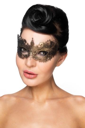"""Золотистая карнавальная маска """"Авиор"""""""