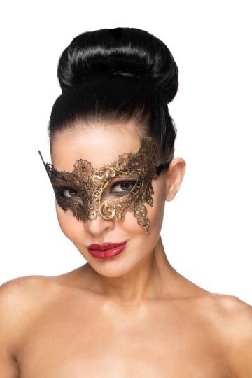 """Золотистая карнавальная маска """"Вега"""""""