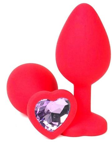 Красная силиконовая пробка с сиреневым кристаллом-сердечком - 8 см.